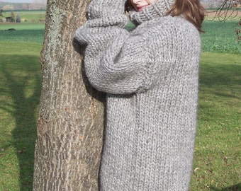 To order !!! 3kg Lopi chunky turtleneck sweater hand knitted island jumper 100% virgin wool by Strickolino