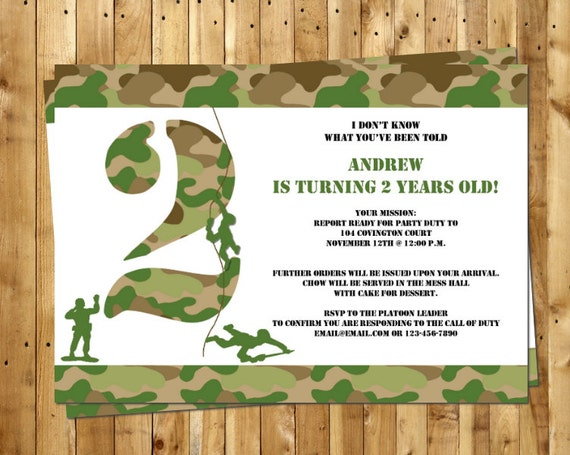 army men party invitation customized for your birthday party, Birthday invitations