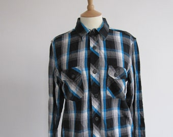 Blue and Black Vintage Checked Shirt
