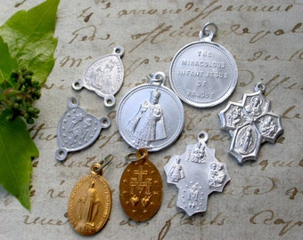 French vintage lot of 12 religious rosary medals silver gold sacred heart vintage charms virgin mary our lady baby jesus cross st christophe