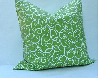 18x8 Pillow Covers, Waverly Loops n Twirls Pillow Cover, Throw Pillow, Honeydew green colored pillow cover, Throw Pillow