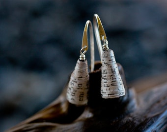 Sterling Silver and Newspaper Drop Earrings