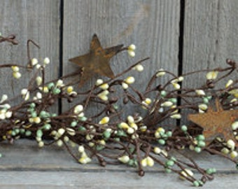 Berry Garland | Coffee Bean Pip Berry Star Garland | 40-42 Inch | FREE SHIPPING USA |  Ready-to-Ship