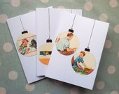 Bauble Christmas cards - vintage children's books - set of three