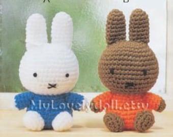 Mini Miffy Rabbit Amigurumi Crochet  PDF Pattern in English
