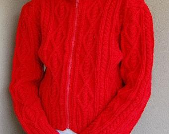 Red aran hoodie sweater