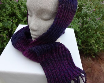 Hand knit scarf in shades of navy blue, plum and raspberry