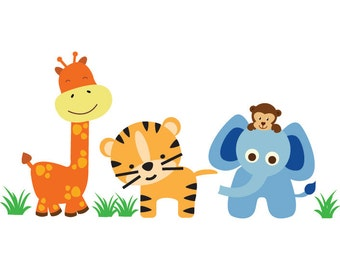 Jungle Animals Wall Decal REUSABLE - W100