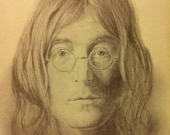 Beatles, John Lennon, Vintage, Pencil Sketch by Glen Fortune Banse 11x14,  You Get 1 Copy, Gift Under 10 Dollars
