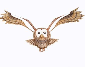 Owl Print -Fine art print- Watercolour Print - Owl Art - Bird Wall Art- Brown Owl - Owl Illustration