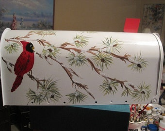 Hand Painted Mailbox Winter Branches with Cardinal