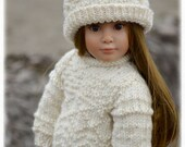 """Whidbey PDF Slim 18"""" Doll Clothes a Gansey textured stitch sweater and hat knitting pattern for Kidz n Cats dolls by Debonair Designs"""