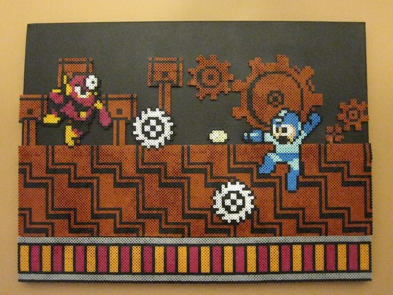 items similar to metal man boss battle perler beads on canvas piece