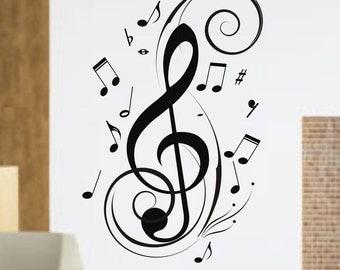 Music Notes Design Decal Sticker Wall instrument cool modern beautiful child boy girl
