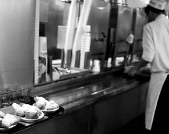 Black and white photo at Cafe du Monde in New Orleans, LA, USA