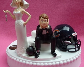 Wedding Cake Topper Chicago Bears Football Themed Ball and Chain Key w/ Garter Sports Fan Wedding Marriage Bride and Groom Sporty Team Faves