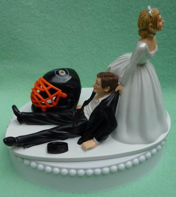 Wedding Cake Topper Philadelphia Flyers Hockey Themed w