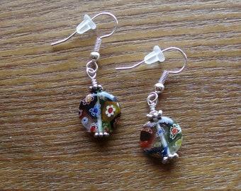 Multi colored Millefiori glass earrings.