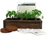 Reclaimed Barnwood Planter & Culinary Herb Garden Kit - Grow Basil, Dill, Cilantro, More