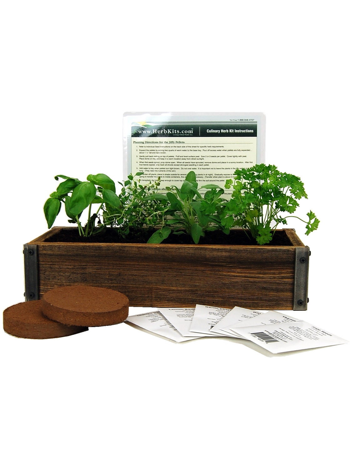 Reclaimed Barnwood Planter Culinary Herb Garden Kit Grow
