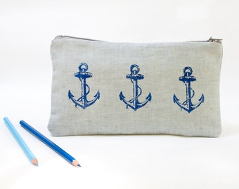 Blue lineen  Pouch,  Pencil Case , Back to school, Cosmetic bag ,  Zipper Pouch,Anchor Pouch, ohtteam