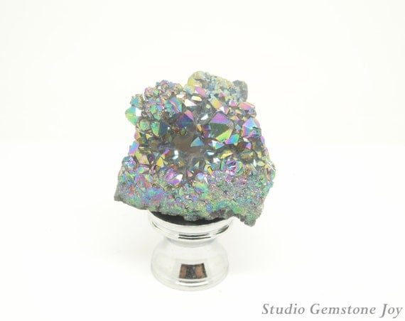 1PC 100% Natural Gemstone Rock&Mineral Rough Specimen Titanium Colorful Agate Druzy Geoge  Lamp Finial, Gemstone Lamp Charms Lighting Parts
