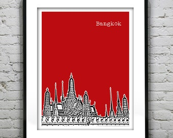 Bangkok Thailand Skyline Poster Art Print Version 4
