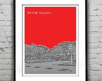 Davis Square Skyline Poster Art Print  Boston Somerville Cambridge Massachusetts