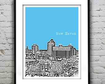 New Haven Connecticut Poster Print Art Skyline  CT