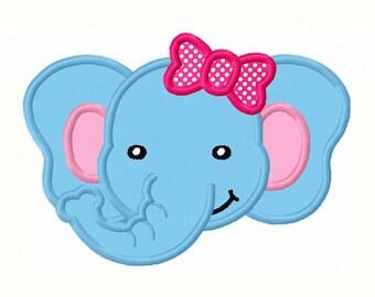 Girl Elephant Face Applique Machine Embroidery Design NO:0046