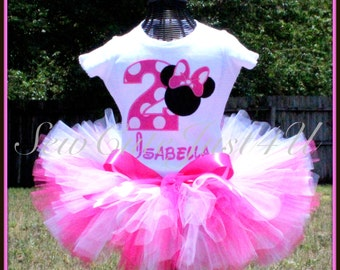 Minnie Mouse Birthday Number Shirt and Tutu Set