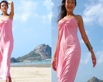 Light Pink  Strapless  Beach evening long maxi Sun dress S M L XL 2XL 3XL 4XL