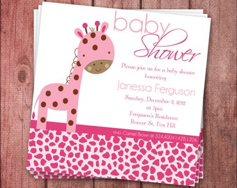 Pink Giraffe Baby Shower Invite - Printable