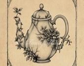 """Overgrown Teapot - 8"""" x 10"""" print - Fine Art Illustration"""