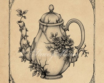 Overgrown Teapot - Fine Art Illustration - print