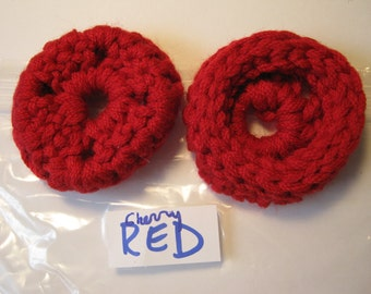 Ear Pads, Ear Cookies for Phone Headset, Call Center, Hand-crochetted, NEW.CHERRY RED.