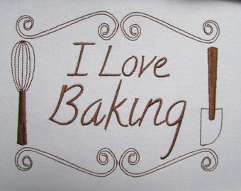 I Love Baking Embroidery Design Instant Download