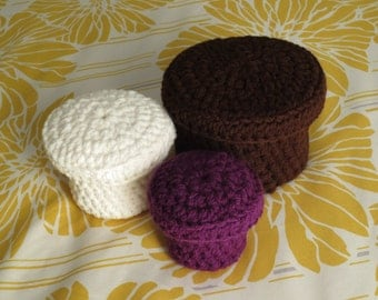 Crochet Boxes, Containers, Set of 3, Ready to Ship