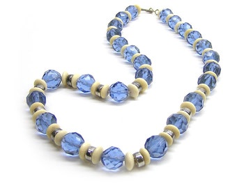 Vintage Handmade Blue Glass Bead Necklace with Silver and Bone Beads