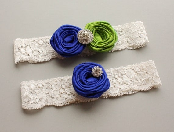 "CHOOSE YOUR COLORS - Ivory Lace Bridal Garter Set with Royal Blue & Apple Green Silk Roses - Wedding Garter with Toss Garter - ""Chloe"""