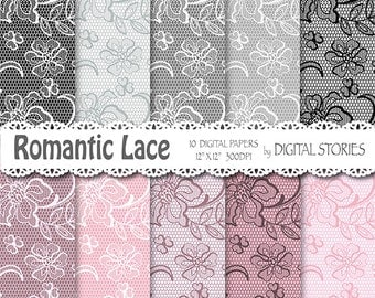 "Lace digital paper: ""LACE PINK GRAY"" Romantic Wedding Vintage Lace for scrapbooking, invites, cards"