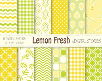 Lemon Fresh Digital Scrapbook Paper Pack-Yellow Green Plaid Chevron Flourish