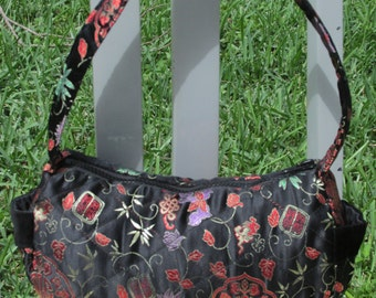 Black satin quilted fabric purse.  Handmade.