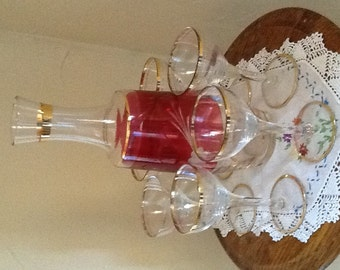 Vintage Cranberry etched  glass Decanter with (6) WIne/Sherry Gold Trim Glasses