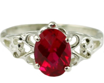 Created Ruby, 925 Sterling Silver Ring, SR302
