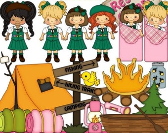 DIGITAL SCRAPBOOKING CLIPART - Lil Girl Scouts