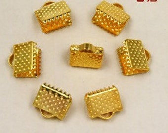 Crimp Bead-60pcs 8mm Antique gold Leather Fastener Clasp Jewelry Findings