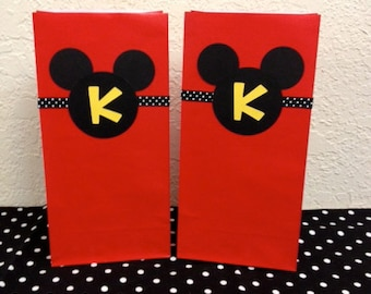 Mickey Mouse Birthday Goodie Bags/Treat Bags/Gift Bags (10 Bags)