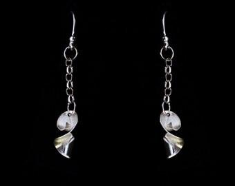 Sterling silver twist earrings.