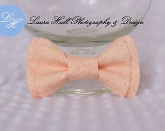 Peach Bow Tie - PEACH bow tie, MENS peach bow tie, plaid peach double bow bow tie, newborn bow tie, hair bow for girls, toddler boys bow tie
